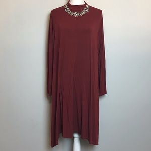 ASOS mock neck burgundy long sleeve swing dress